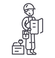 worker with plan and tools line icon sign vector image vector image
