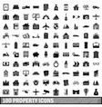 100 property icons set simple style vector image vector image