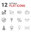 12 decoration icons vector image vector image