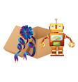 A robot and a box vector image vector image