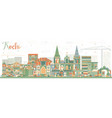 abstract kochi skyline with color buildings vector image vector image
