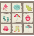autumn cute elements on torn paper - for scrapbook vector image vector image