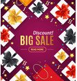 big sale concept banner card with realistic 3d vector image vector image