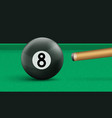 billiard eight ball and cue on green cloth table vector image vector image