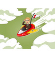 blonde businessman in brown suit riding a rocket vector image