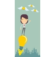 Business woman flying on the light bulb vector image vector image