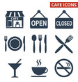 cafe icons set on white background vector image vector image