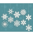 Christmas decoration with white snowflakes vector image vector image