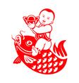 Chubby boy riding a carp vector image vector image