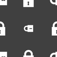 closed lock icon sign Seamless pattern on a gray vector image