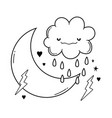 cloud and moon cartoon in black and white vector image vector image