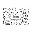 collection hand drawn arrows icon vector image