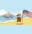 columbus day poster with columb and santa maria vector image vector image
