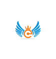 crown wing initial logo vector image vector image