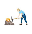 cryptocurrency concept with young man miner and vector image vector image
