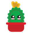 cute cactus in pots on white background vector image vector image