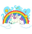 cute unicorn on sky vector image