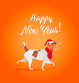 funny dog sings song happy new year collection vector image