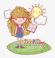 girl read book information with sun and cloud vector image