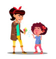 girl treating to crying girl to ice cream vector image vector image