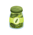 glass jar with pickled cucmbers canned vegetables vector image