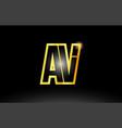 gold black alphabet letter av a v logo vector image vector image