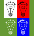 good idea perfect tip four icons with lightbulb vector image