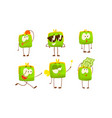 green humanized purse with various emotions vector image vector image