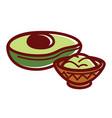 half of avocado and small bowl of guacamole vector image
