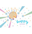 happy birthday greeting card festive cake with vector image vector image