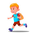 happy child running with a school bag vector image