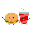 happy smiling funny cute burger vector image vector image