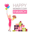 happy women day 8 march greeting card with girl vector image