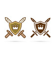 kingdom iconcrown on shield with swords sign vector image