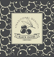 label for black olives with olive twig vector image