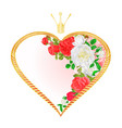 label golden heart with a crown and flowers vector image vector image
