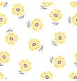 Lemon colored daisy pattern on white