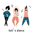 lets dance dancing girls vector image vector image