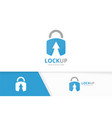 lock and arrow up logo combination safe vector image vector image