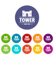 luxury tower icons set color vector image vector image