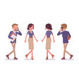 male and female office secretary walking vector image