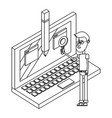 man with laptop black and white vector image