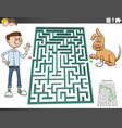 maze game with cartoon teen boy and dog vector image vector image