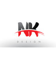 nk n k brush logo letters with red and black vector image vector image
