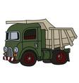 old green dumper truck vector image