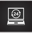 online shopping 24 hours open icon on black vector image