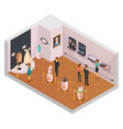 people in museum hall isometric composition vector image