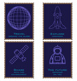 postage stamps depicting a planet an astronaut a vector image