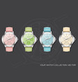 realistic clock chronograph pastel collection vector image