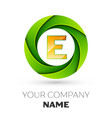 realistic letter e logo in the colorful circle vector image vector image